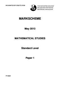 Mathematical studies SL paper 1 TZ1 Markscheme - Washington Liberty